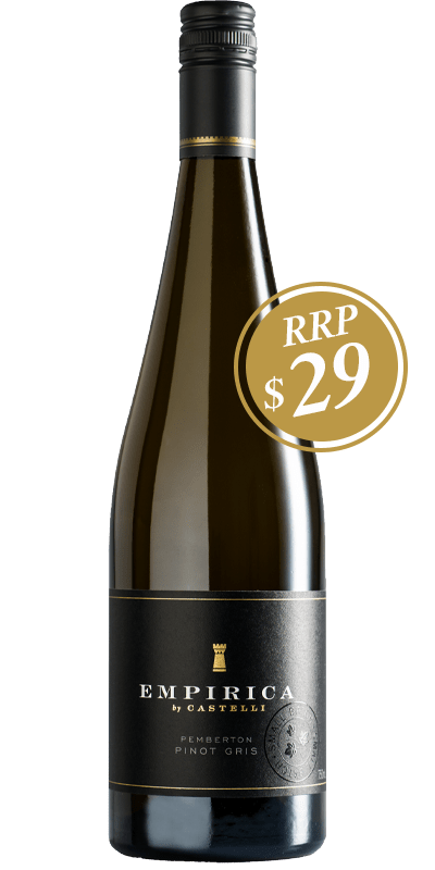 Empirica Pinot Gris bottle shot with RRP